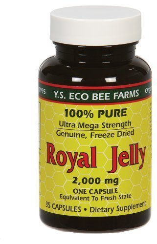 100% Pure Freeze Dried Fresh Royal Jelly - 2000 mg YS Eco Bee Farms 35 Caps by YS Eco Bee Farms