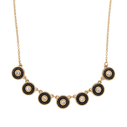 14k Yellow Gold Plated Round Crystal and Black Beaded Halo Rolo Link Necklace 16