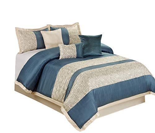 - 7 Piece Liverpool Jacquard Circle Patchwork Comforter Set (King, Blue)