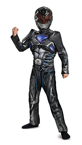 Disguise Power Ranger Movie Classic Muscle Costume, Black, Large (10-12)