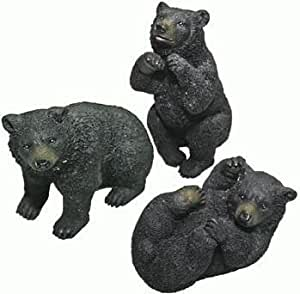 Cute Miniature Black Bear Collectible Figurine Collection, 3-inch, Set of 3