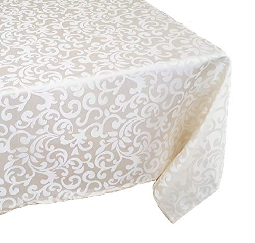TEKTRUM 70 X 120 INCH 70X120 RECTANGULAR POLYESTER DAMASK TABLECLOTH - THICK/HEAVY DUTY/DURABLE FABRIC (Ivory)