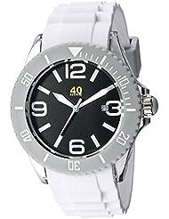 40Nine Unisex 40NINE02/WHITE Large 45mm Analog Display Japanese Quartz White Watch