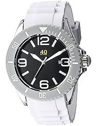 Unisex 40NINE02/WHITE Large 45mm Analog Display Japanese Quartz White Watch