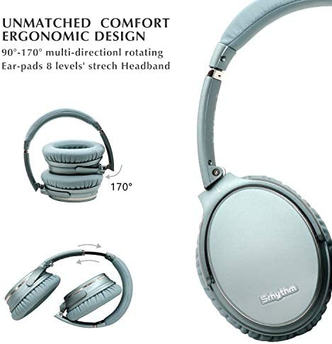 Noise Cancelling Headphones Wireless Bluetooth 5.0,Fast Charge Over-Ear Lightweight Srhythm NC35 Headset with Microphones,Mega Bass 40+ Hours' Playtime -Low Latency 41vc9TkjjuL