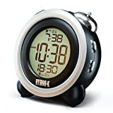 Loud Alarm Clock for Heavy Sleepers - Simple Digital Clock Battery Operated for Hearing Impaired - Easy to Set Electronic Twin Bell Snooze Portable LCD Clock for Kids