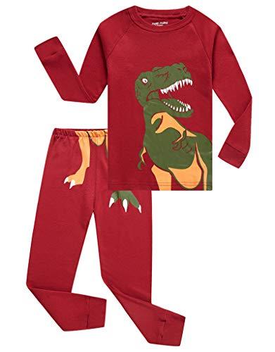 Family Feeling Dinosaur Little Boys Long Sleeve Pajamas Sets 100% Cotton Pyjamas Toddler Kids Pjs Size 2T Red