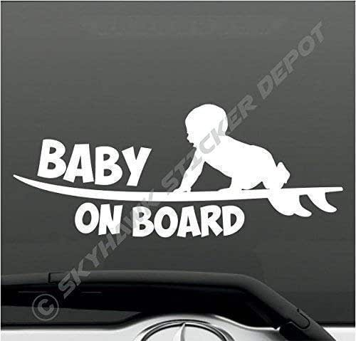 Surfer Baby on Board Car//Truck Safety Vinyl Window Sticker Sign Decal 3 Colors