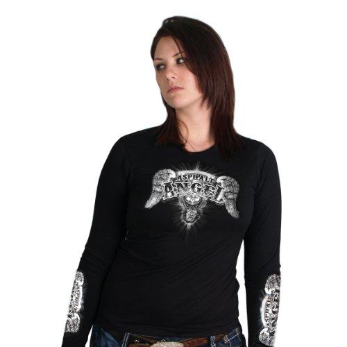 - Hot Leathers Asphalt Angel Ladies Long Sleeve Tee (Black, XX-Large)