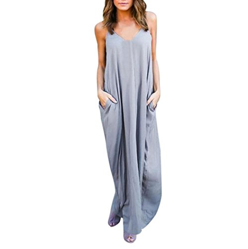 TAORE Plus Size Hippie Boho Womens Casual Summer Cocktail Party Dress Beach Long Maxi Dress (L, Gray)