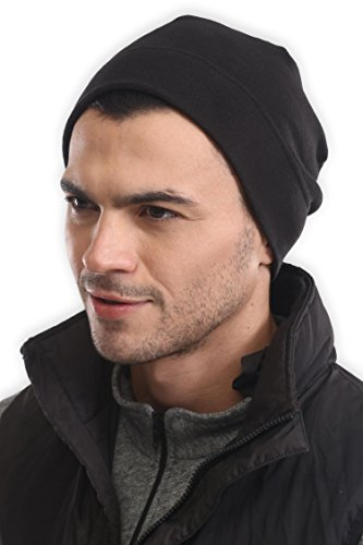 Helmet Liner Black Fleece - Tough Headwear Fleece Winter Beanie Hat - Cold Weather Midweight Watch Cap for Men & Women - Ultimate Thermal Retention and Performance Stretch. Perfect for Sports & Daily Wear