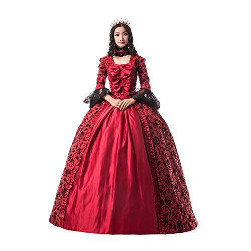 CountryWomen Renaissance Gothic Dark Queen Dress Ball Gown Steampunk Vampire Halloween Costume (XS, Red-1) -