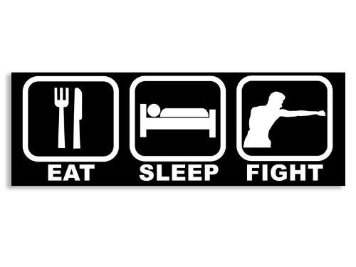 American Vinyl BLACK Eat Sleep FIGHT Bumper Sticker (mma fighter box boxer)