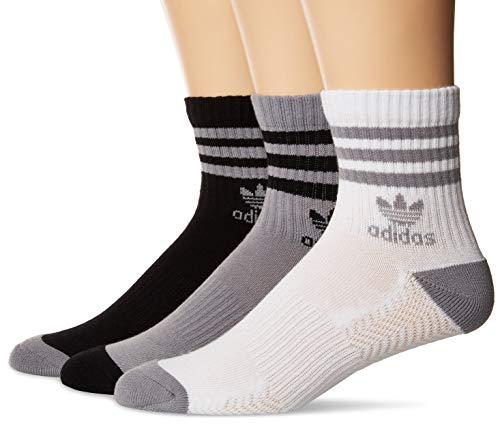 Crew Socks Tennis Adidas (adidas Men's Originals Cushioned High Quarter Socks (3-Pack), Light Onix/Black/White, Large)