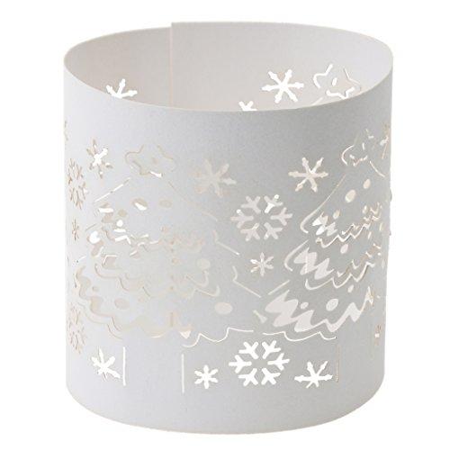 10 Weiße Lichtertüte Teelicht Papiertüten Kerze Dekoration Papier Teelichthalter-Partei-Weihnachtsschneeflocke - Weihnachtsschneeflocke