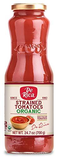 De Rica Premium | 100% Italian Sourced | Organic Strained Tomatoes | 12 Pack (24.7 Oz Jars)