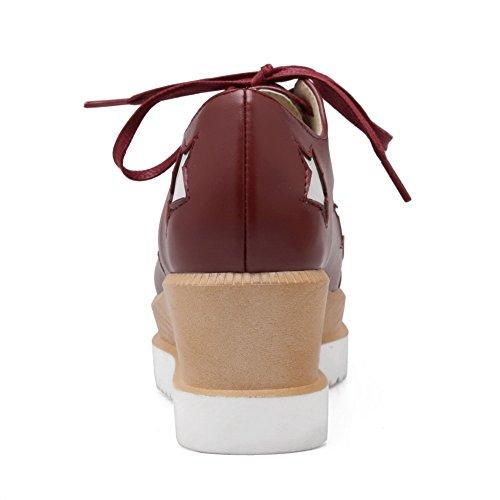 Amoonyfashion Femmes Assorties Couleur Pu Chaton Talons Carré Fermé Orteil Lacets Pompes-chaussures Rouge