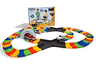Kidoozie Double X-Track Build-A-Road with Over 11 Feet of Interchangeable, Flexible Track and 2 Battery Operated Cars