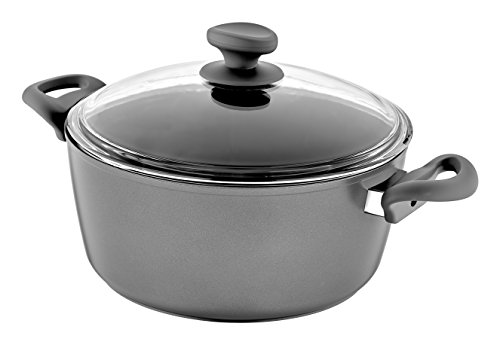 - Saflon Titanium Nonstick 8-Quart Stock Pot with Tempered Glass Lid, 4mm Forged Aluminum with PFOA Free Coating from England