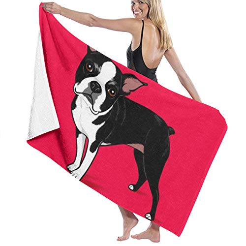 NiYoung Bath Towels, Boston Terrier Dog Red Wash Cloths 100% Polyester Cotton Hand Towel High Absorbency Fitness Towel Quick Dry Bath Sheets for Home Hotel Spa (32x51 inch)