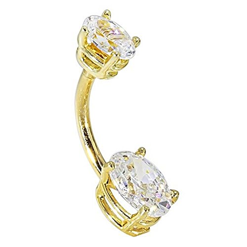Petite Oval CZ 14k Yellow Gold Belly Ring