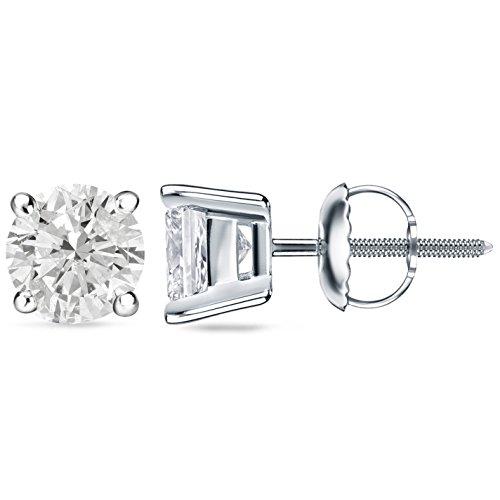 0.40 Ct Tw Round Diamonds - IGI Certified 2/5 Carat TW (0.40 Ct.) Round Diamond 4-Prong Stud Earrings in White Gold W/ Screw Backs