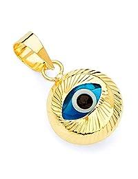 14k Yellow Gold Evil Eye Fluted Charm Pendant