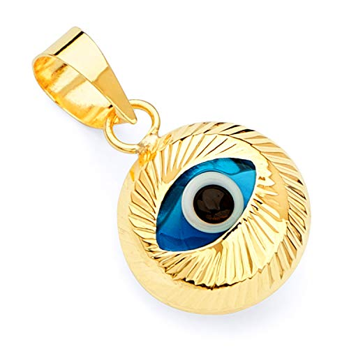 14k Yellow Gold Evil Eye Fluted Charm Pendant (14k Fluted Yellow Gold)