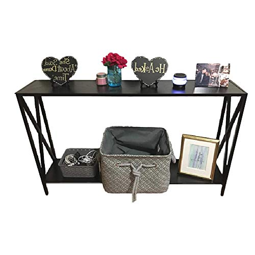 48 Inch Wide Console Table Hall Entryway Narrow Steel Frame Foyer Sofa XL Foyer Accent Side Big 2-Tiered Storage Metal & ebook