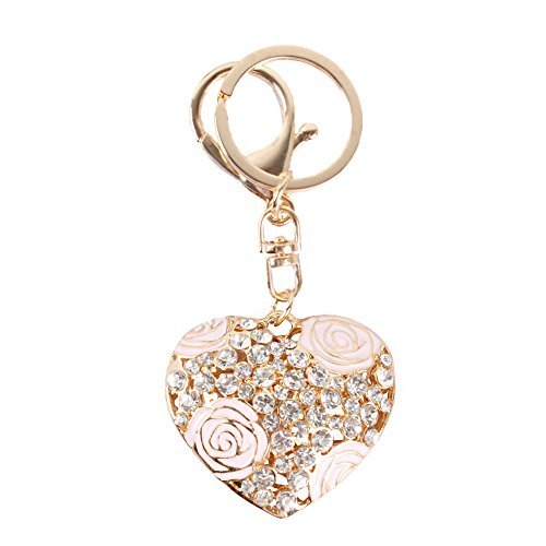 Bonlting Sweet Love Heart Rose Flower Crystal Charm Pendant Purse Bag Key Ring Chain