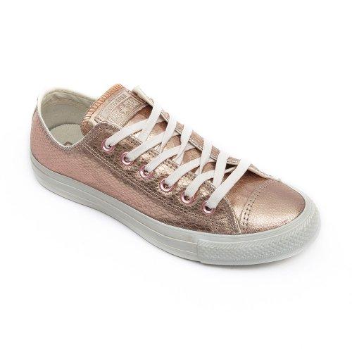 Converse Damen Schuh Chuck Taylor Ox Schlangenhautmuster Silber/Weiß Rose Gold