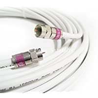 125ft MADE IN USA COMMSCOPE 2275V PLENUM CMP RG6 Coaxial Cable 75 Ohm 3Ghz UL ETL COMMERCIAL GRADE SATELLITE TV BROADBAND INTERNET COMMUNICATION CATV RoHS BRASS compression F-Connectors