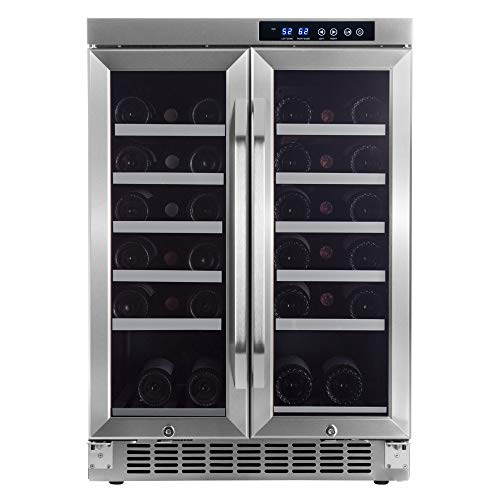 EdgeStar 36 Bottle Built-In Dual Zone French Door Wine Cooler - Black/Stainless...
