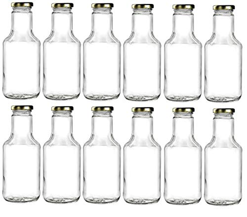 Nakpunar 12 pcs 14 5 oz Wide Mouth Empty Glass Bottles with Gold Lids for  Oil, Sauces, Milk, Water, Beverages