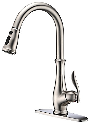 Commercial Single Handle High Arch Brushed Nickel Kitchen Faucets with Pull down Sprayer, Single Level Deck Mounted Pull out Stainless Steel Kitchen Sink faucets with Deck Plate