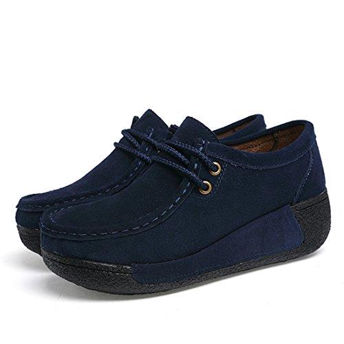 Blu suo Guida Pelle Comode In Loafers Scarpe Mocassini Da Scamosciata Moda Donna Z pqw7df7
