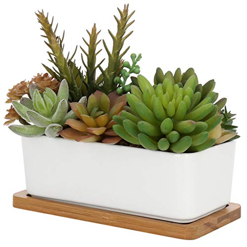 - MyGift Mixed Faux Succulent Plant Arrangement in White Ceramic Pot with Bamboo Tray