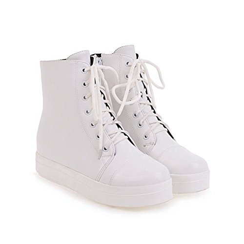 BalaMasa Womens AssortedColor Bandage Platform Urethane Walking Shoes ABL10620 White NPXaMa