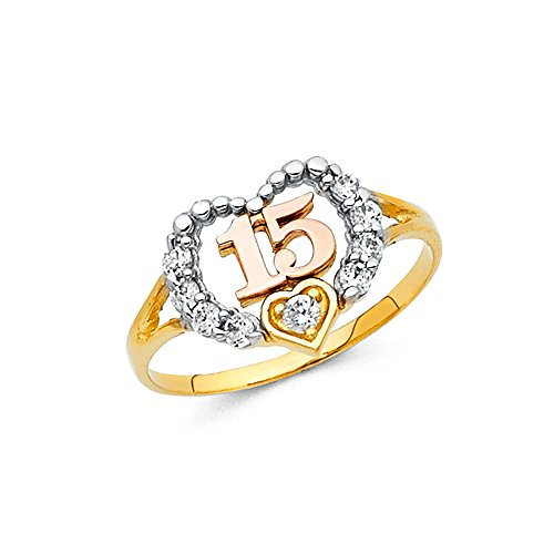 14k Yellow White Rose Gold Sweet 15 Heart Ring Quince Band CZ Beaded Design Tri Color Size 6.5 14k Yellow White Rose