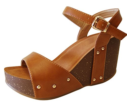 Cambridge Select Womens Open Toe Single Band Buckled Ankle Strap Studded Chunky Platform Wedge Sandal Tan Pu AINxV5ATg