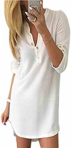 80b75ba7d4 Women s Casual Knit Slit Button up Deep V-Neck Long Sleeve Autumn  Sweatshirts Dress