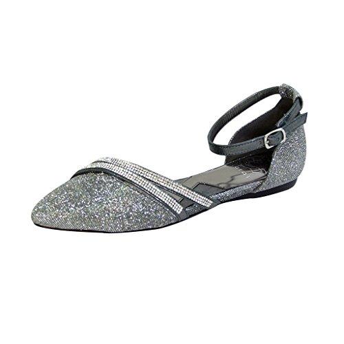 Fuzzy Fic Hallie Vrouwen Extra Breed Spitse Neus Enkelband Kleding Flats (maat / Meetgids Beschikbaar) Tin