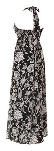 Diseño de larga Evening diseño de impresión sin mangas vestidos de novia e instrucciones para hacer vestidos Empire cuello halter Black with White Flowers Print