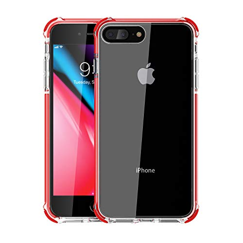 Red Rubber Cell Phone - Noii for iPhone 8 Plus case iPhone 7 Plus case, Clear Hybrid Drop Protection case,[TPE Super Rubber Bumper] Shockproof case,Upgraded Reinforced Edges Technology,Heavy Duty Protective Cover - Fiery Red