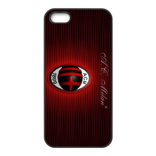 Ac Milan 008 coque iPhone 5 5S cellulaire cas coque de téléphone cas téléphone cellulaire noir couvercle EOKXLLNCD21306