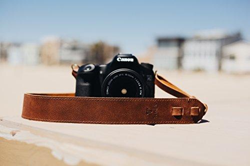TETHER Leather Camera Strap for DSLR or SLR Camera, DSLR Camera Strap. Camera Accessories. Canon Camera Strap. Nikon Camera Strap (Brown)