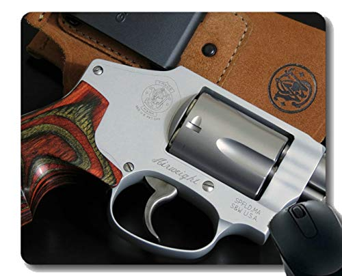 Anti-Slip Mouse Pad Mat,Revolver Pistol Wooden Special car red Mousepad