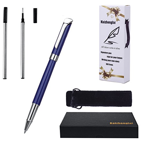 Ballpoint Pen writing set with Gift box Fashion collection Blue Barrel with 2 Extra Stainless Steel Fine Refill (Roller ball pen (Ballpoint Pen Stainless Steel Barrel)