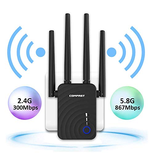 WiFi Extender, COMFAST AC1200 WiFi Range Extender Signal Booster Dual Band  2 4G&5G Wireless Repeater with 4 External Antennas, Router/Repeater/Access