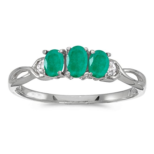 Oval Emerald 3 Stone Ring - 8